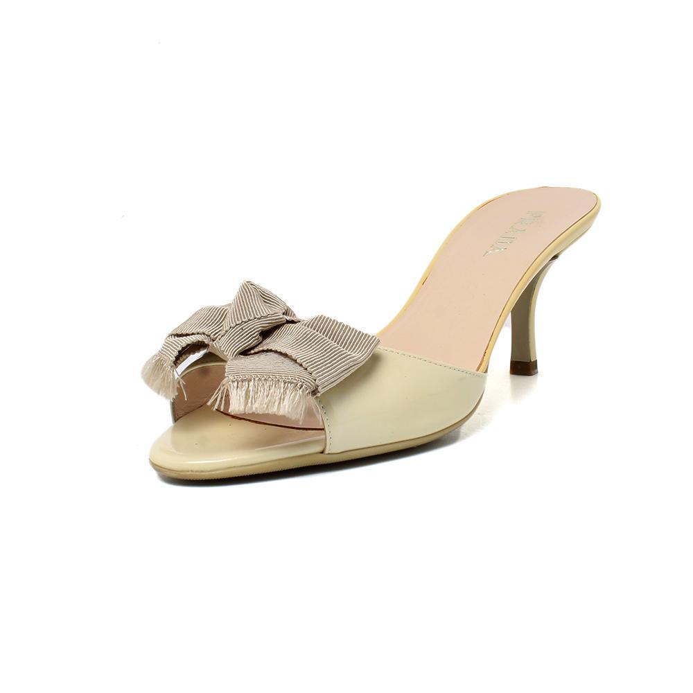Prada Size 38 Cream Patent Leather Peep Toe W/Bow