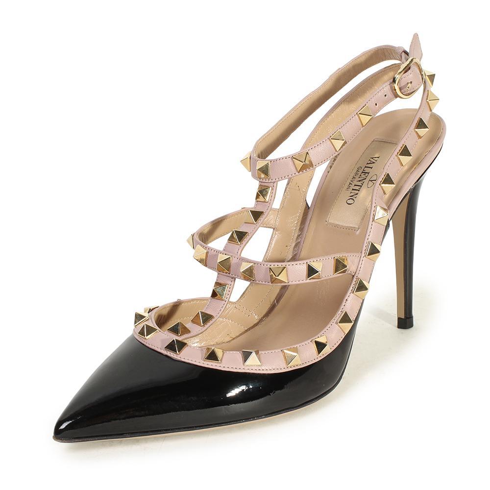 Valentino Size 38.5 Rockstud Ankle Strap Pump