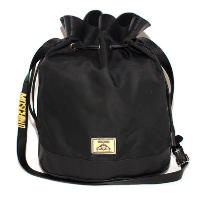 Moschino Black Nylon Bucket Bag