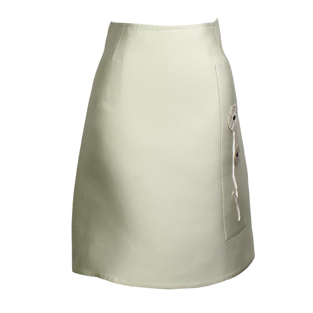 Prada Size 42 Silk Flower Skirt