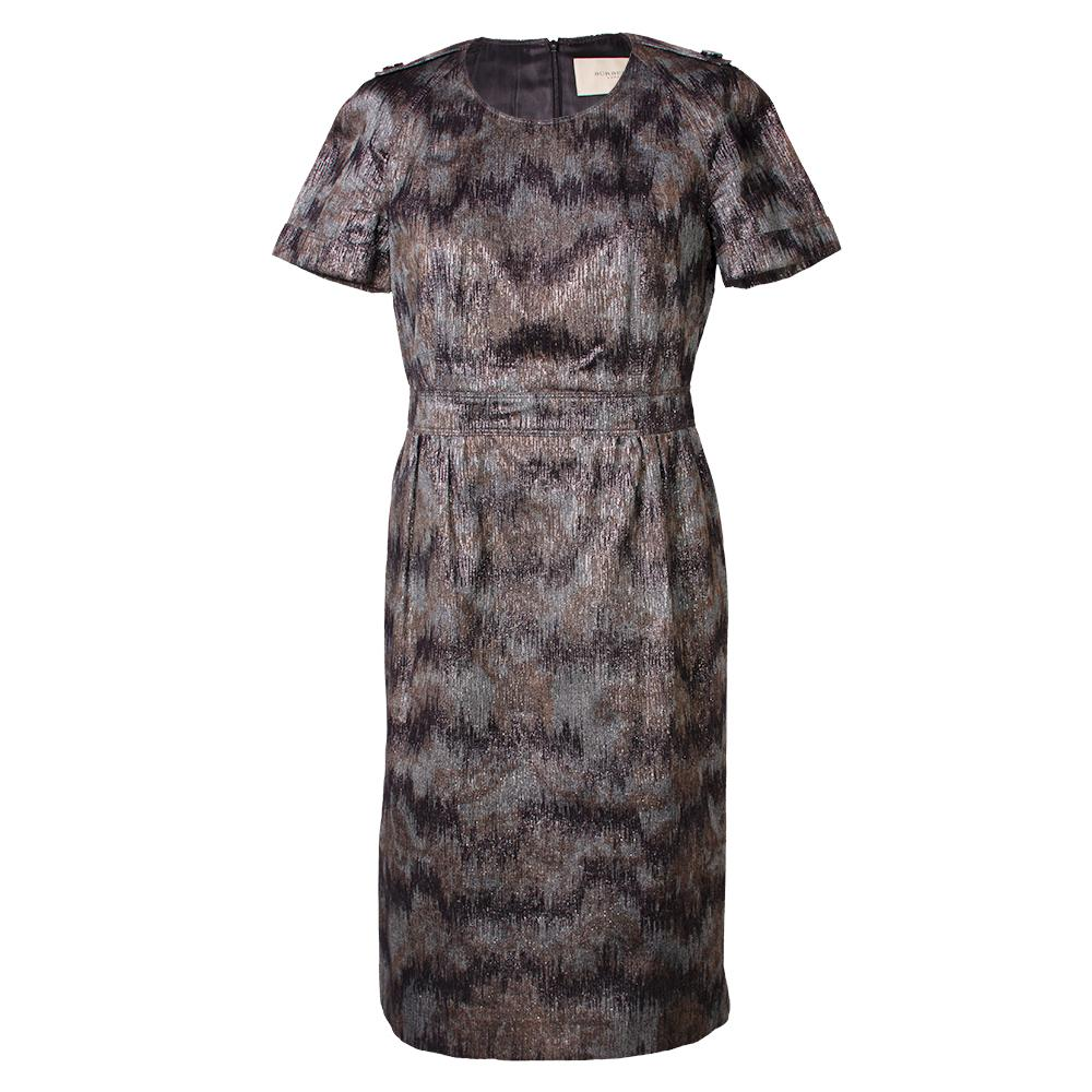 Burberry Size Medium Metallic Short Sleeve Dress