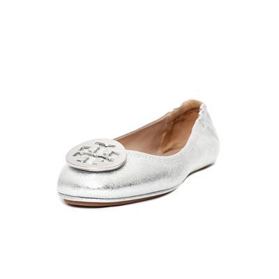 Tory Burch Size 9.5 Metallic Silver Flats
