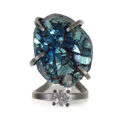 Fendi Size 8 Palladium Plated Ring