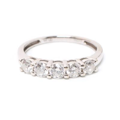 14k White Gold 5 Diamond Ring Size 7