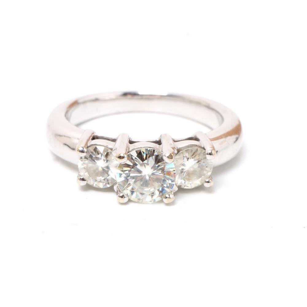 14k White Gold 3 Diamond Ring Size 7