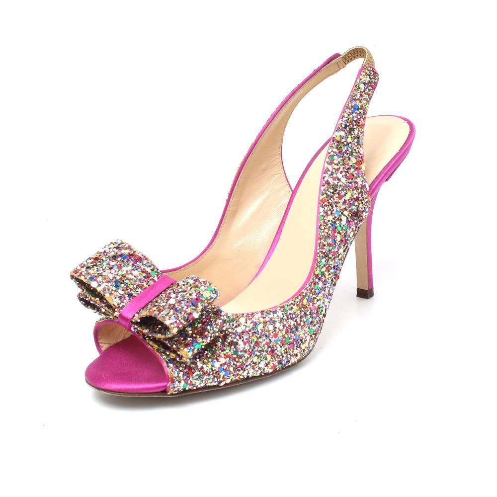 Kate Spade Size 7 Glitter Bow Slingback Heels