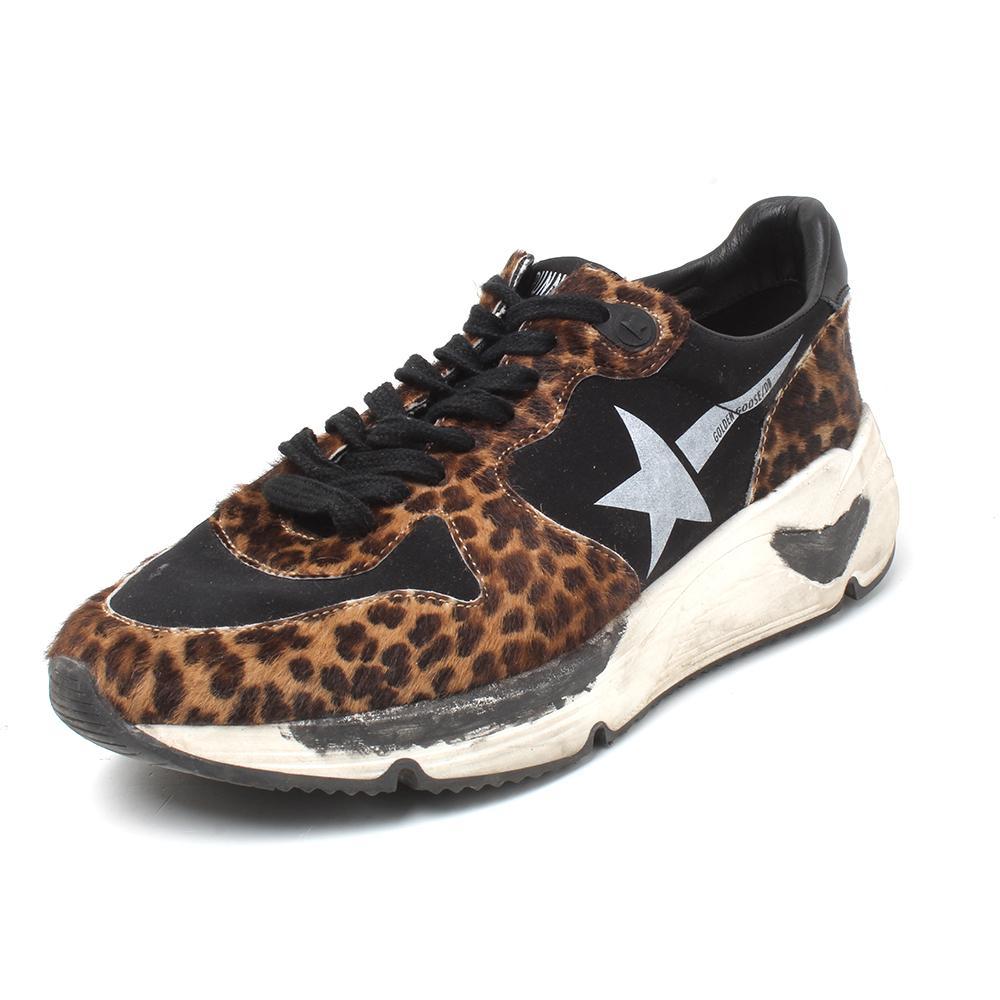 Golden Goose Size 37 Running Leopard Pony Hair Sneakers