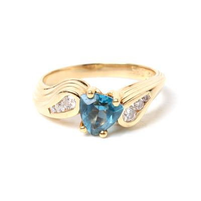 14 Karat Yellow Gold &  Blue Topaz Trillion Diamond Ring