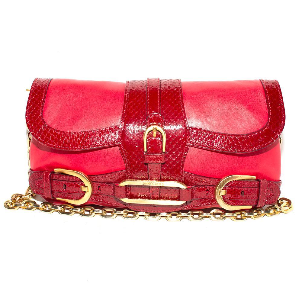 Jimmy Choo Red Leather Snakeskin Hobo Bag