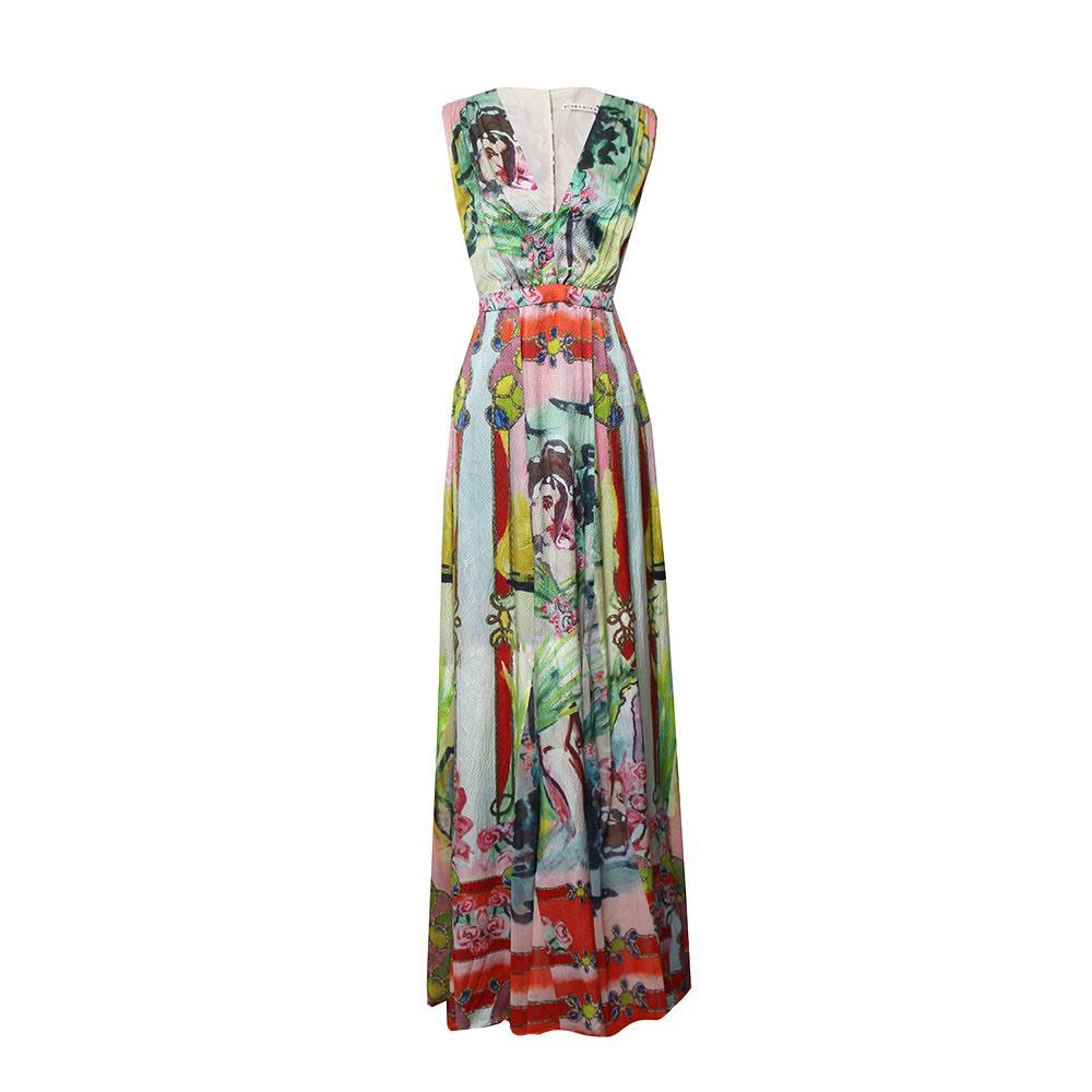 Alice + Olivia Size 4 Printed Maxi Dress