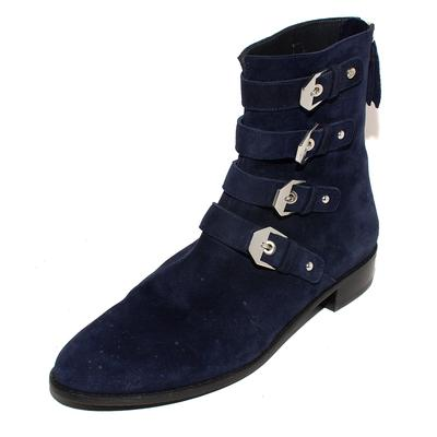 Stuart Weitzman Size 10 Navy Suede Buckled Boots