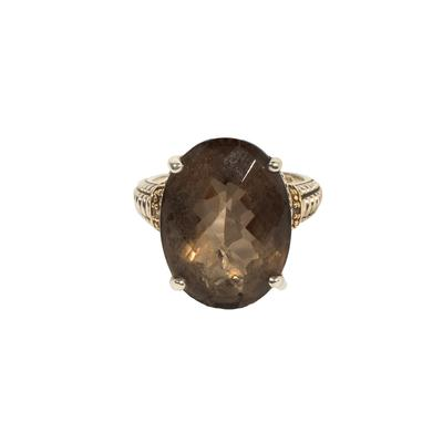 Smokey Quartz Ring 14k Diamond Ring Rise 8