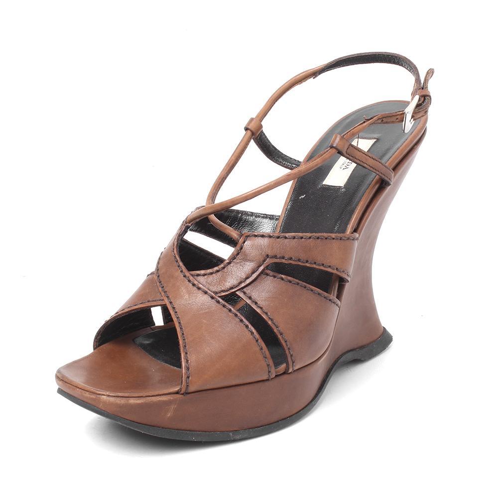 Prada Size 37 Leather Wedges