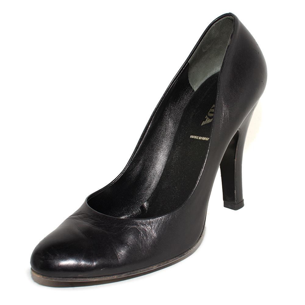 Prada Size 39 Black Leather High Heels