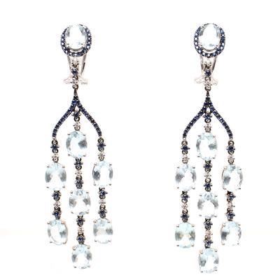18k Sapphire Aqua Chandeliers