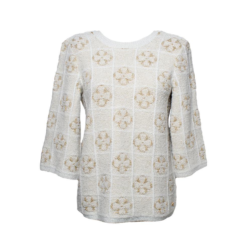 Chanel Size 34 Tan Lurex Flower Sweater