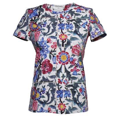 Chanel Size 40 Floral Blouse