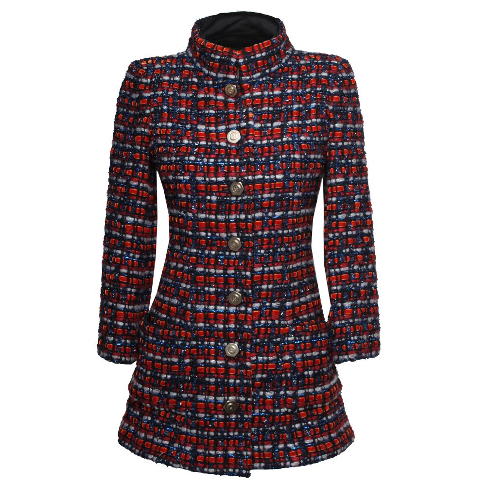 Chanel Size 36 Orange Tweed Coat