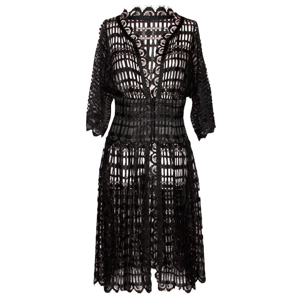 Chanel Size 38 Black Cutout Lace Dress