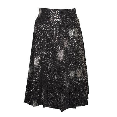 Chanel Size 36 Black Pleated Glitter Skirt