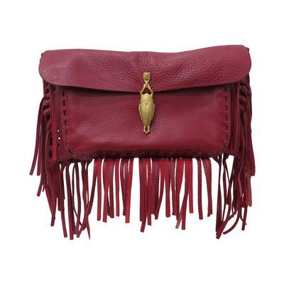 Valentino Leather Fringe Gold Scarab Handbag