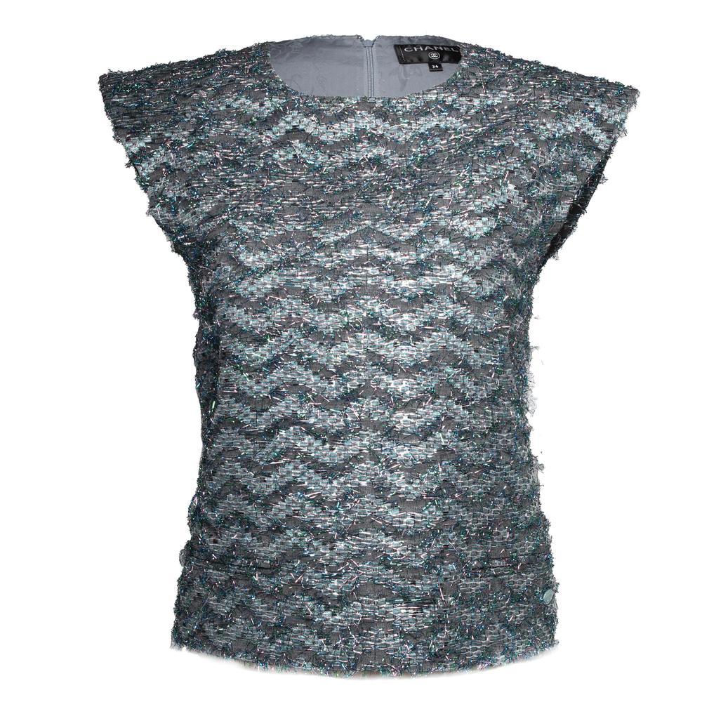 Chanel Size 34 Sleeveless Tweed Blouse