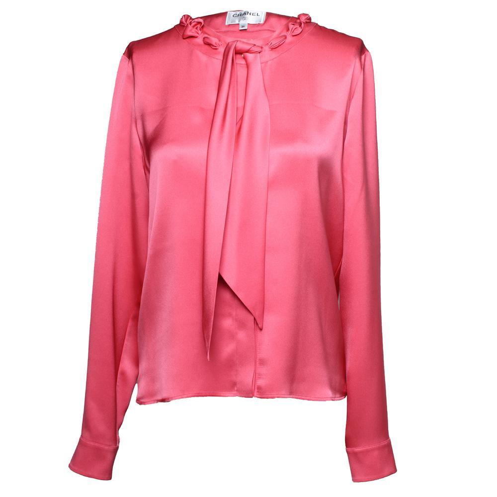 Chanel Size 36 Long Sleeve Silk Blouse