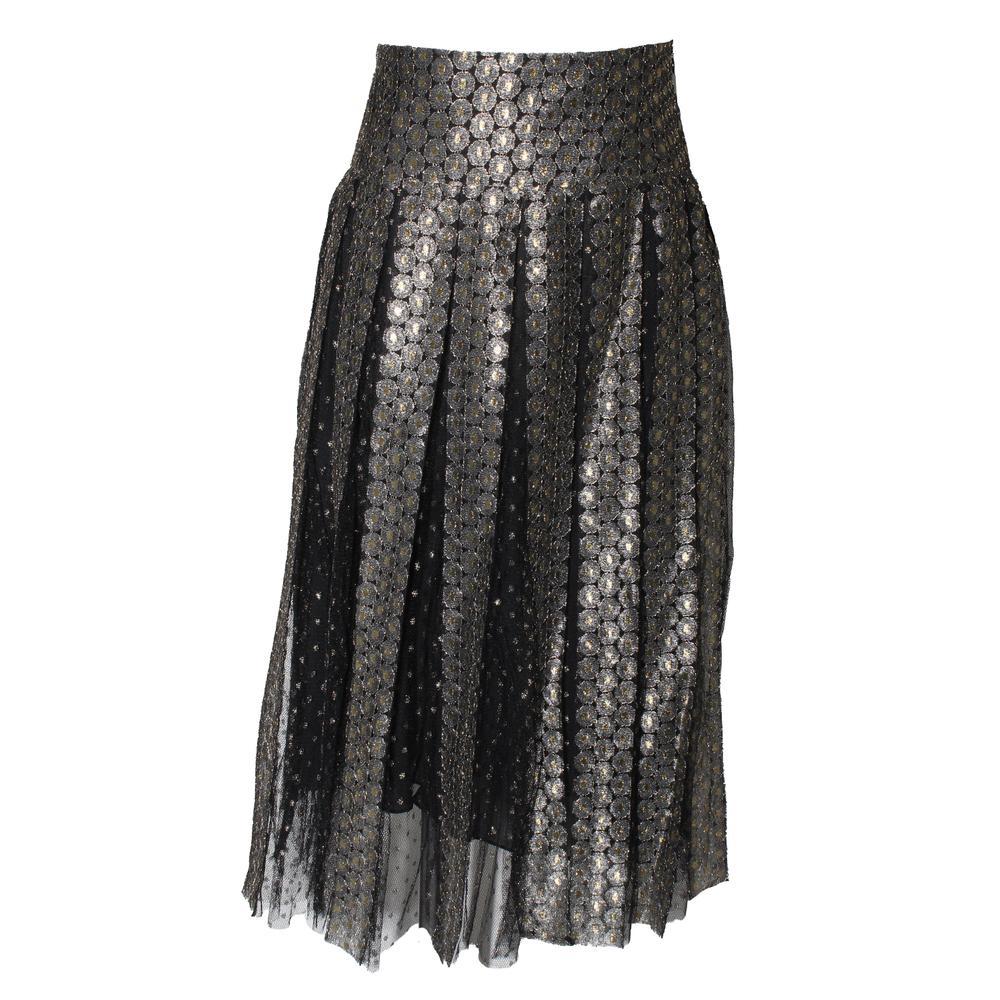 Christian Dior Size 4 Metallic Pleated Skirt