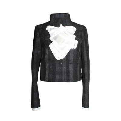 Chanel 2019 Size 36 Plaid Ruffle Collar Jacket