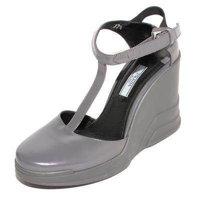 Prada Size 37.5 Grey T Strap Wedges