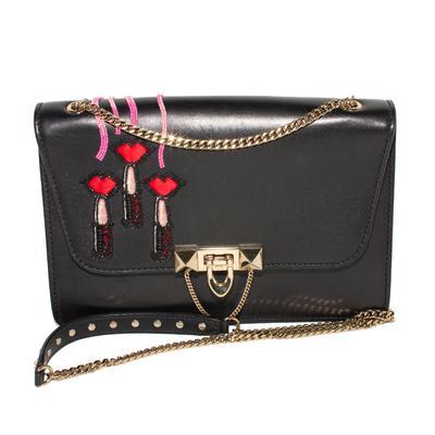 Valentino Black Flap Chain Crossbody Bag