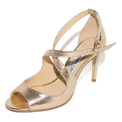 Jimmy Choo Size 35.5 Gold Metallic Strappy Ankle Heels
