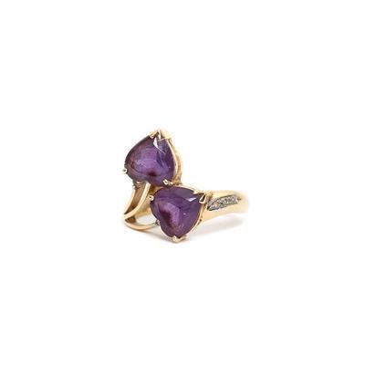 14 Karat Size 7 Diamond &  Amethyst ring