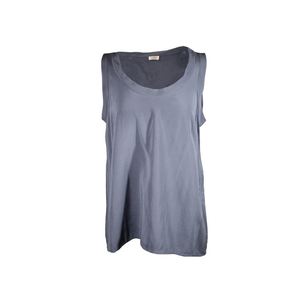 Brunello Cucinelli Size Large Sleeveless Silk Top
