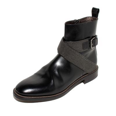 Brunello Cucinelli Size 38.5 Black Leather Moto Booties