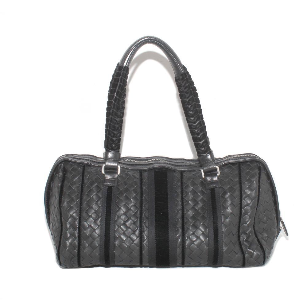 Bottega Veneta Black & Grey Velvet Handle Leather Handbag