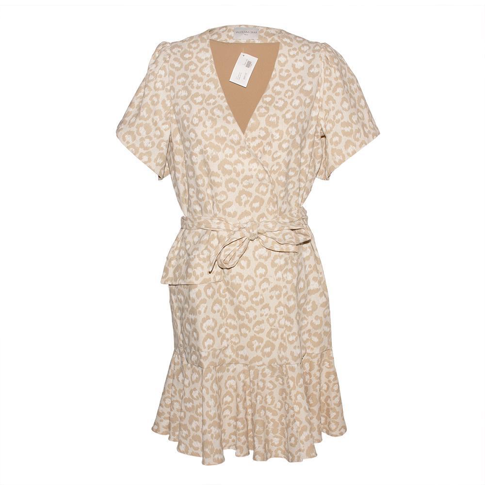 Valentina Shah Size 6 Tan Animal Print Linen Dress