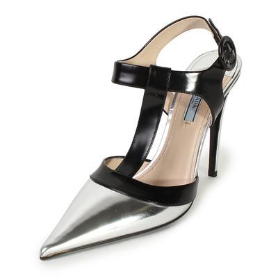 Prada Size 40 Bicolor T-Strap Heels
