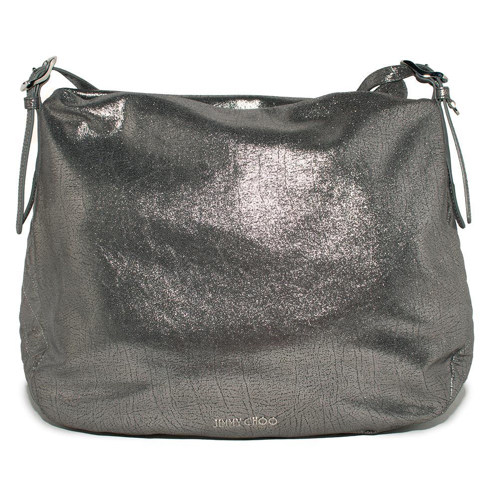 Jimmy Choo Silver Metallic Leather Handbag