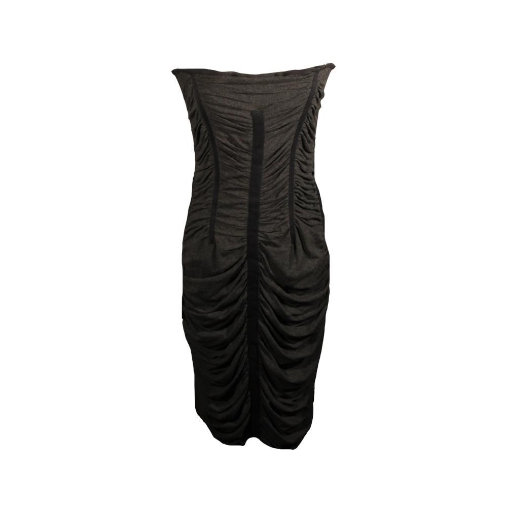 Dolce & Gabbana Size 46 Black Strapless Shirred Dress