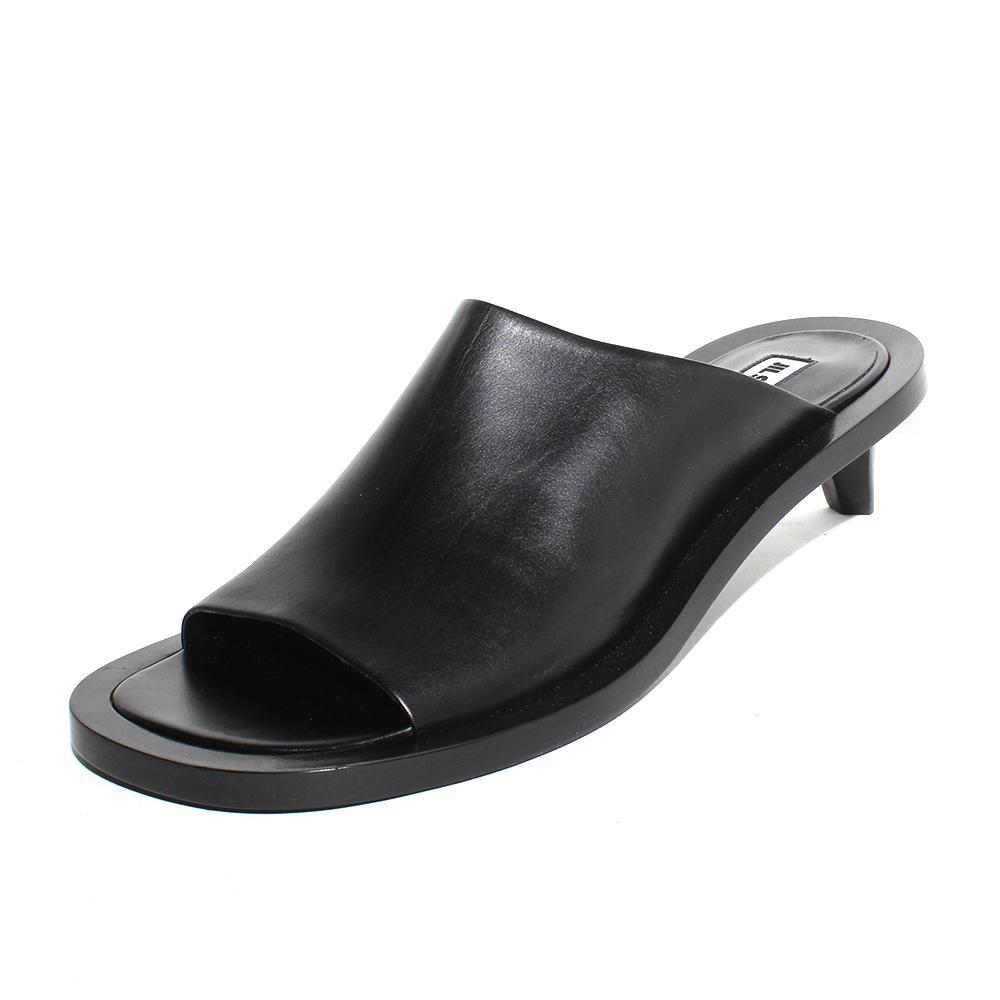 Jil Sander Size 40 Leather Kitten Heel Slide Sandals