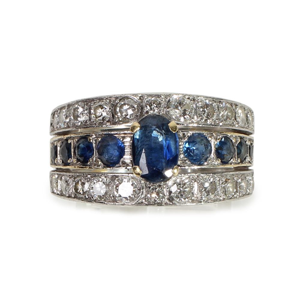 14kyg Size 8 Sapphire & Diamond Ring