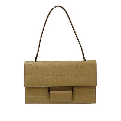 Salvatore Ferragamo Gancini Logo Leather Shoulder Bag