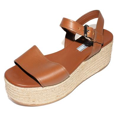 Prada Size 38.5 Brown Leather Open Toe Espadrilles Platform Shoes