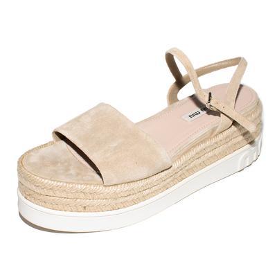 Miu Miu Size 38 Tan Suede Espadrilles Platform Sandals