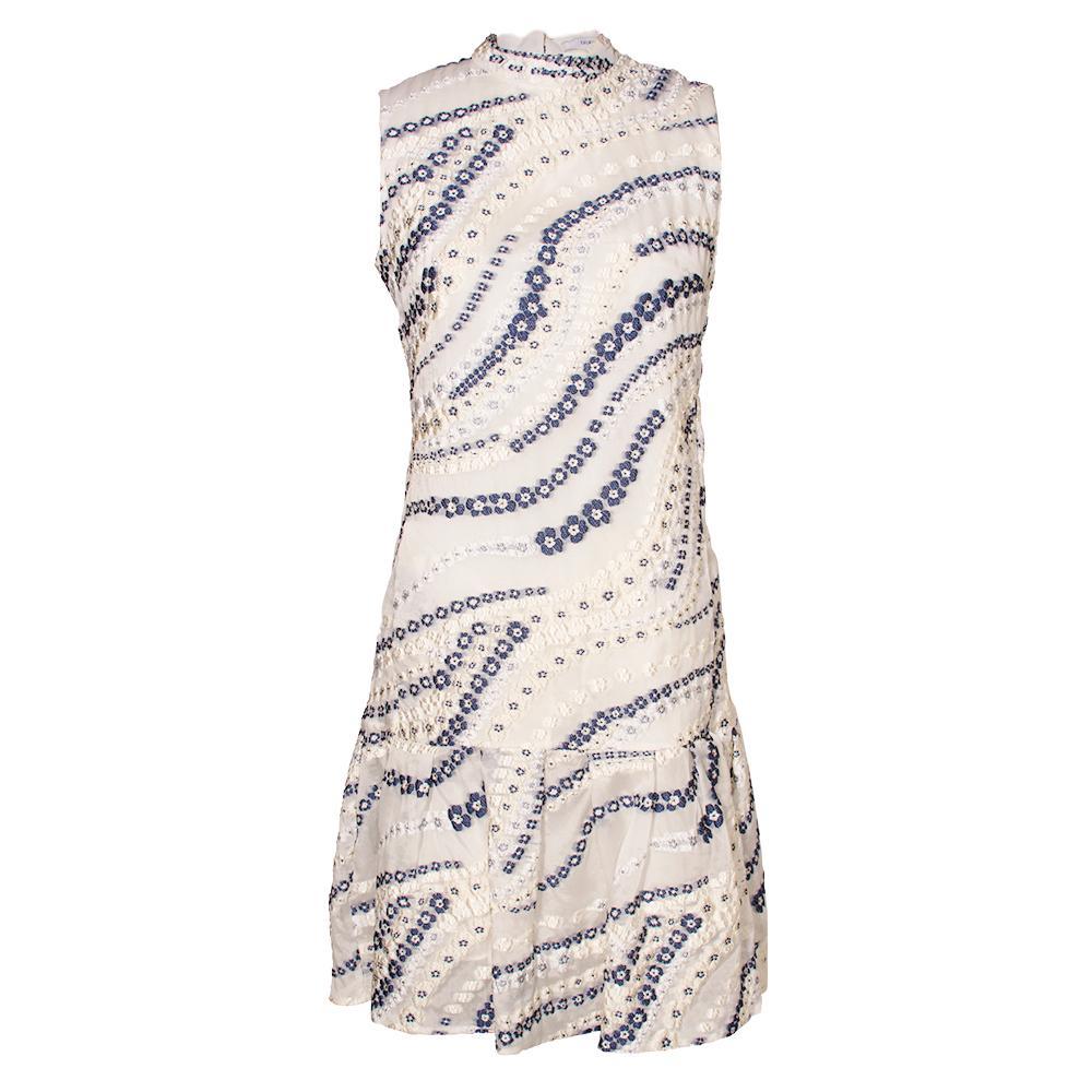 Erdem Size 6 White Drop Waist Floral Dress