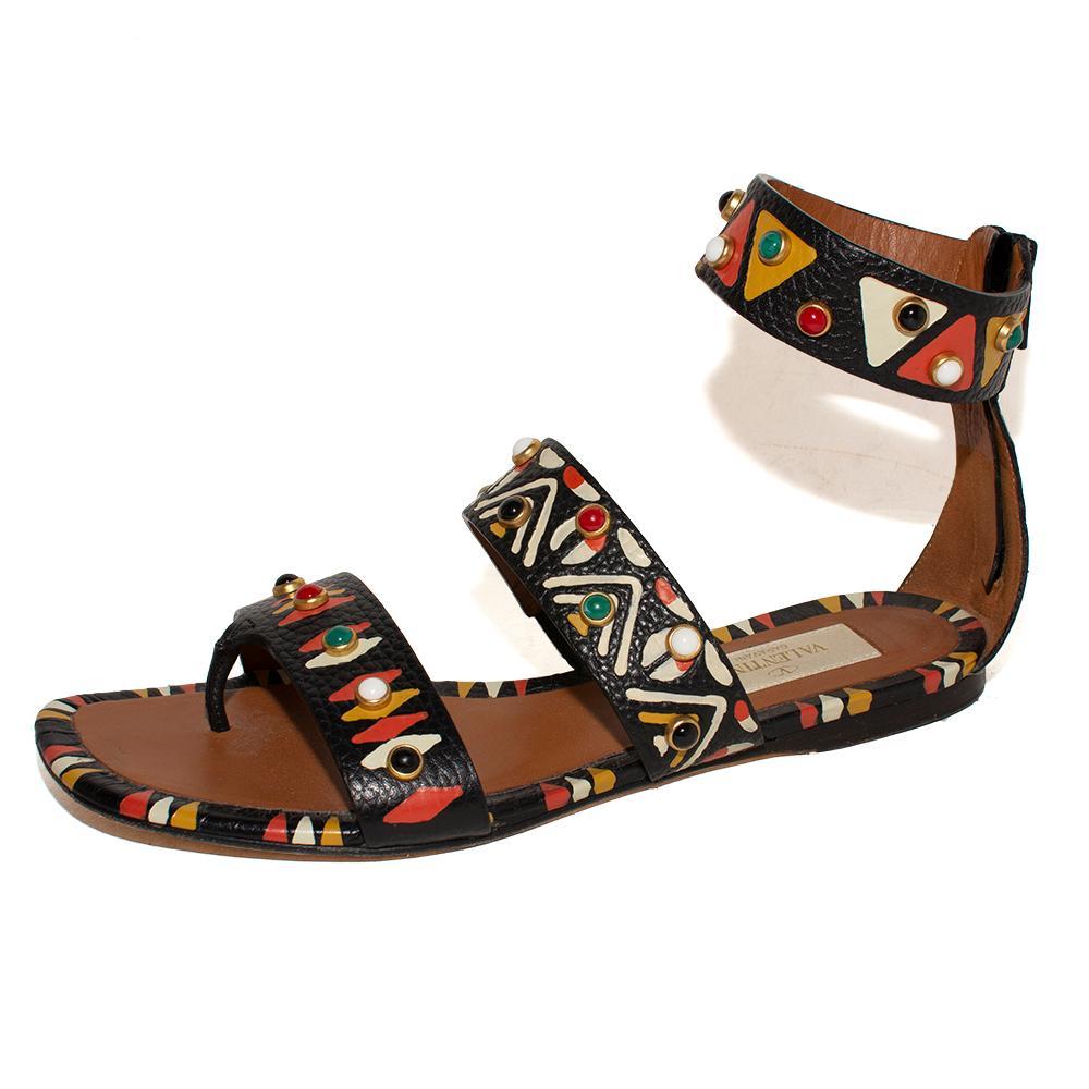 Valentino Size 35.5 Rockstud Print Ankle Strap Sandals