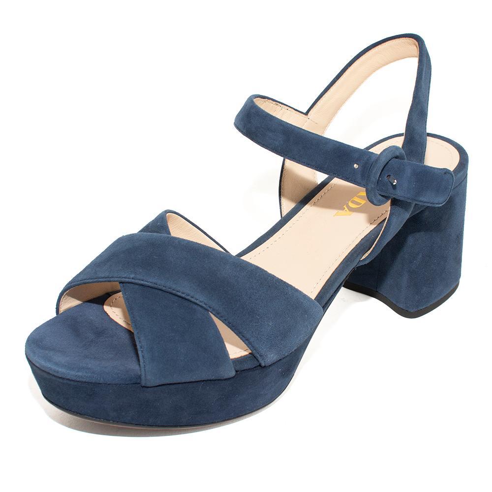 Prada Size 38.5 Blue Suede Platform Heels