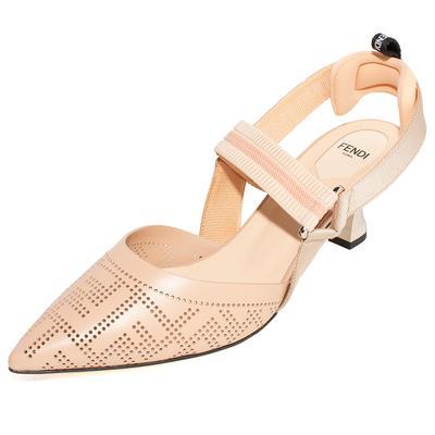 Fendi Size 41 Tan Pointed Toe Sling Back Heels