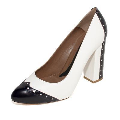 Marni Size 39 Black & White Leather Pumps